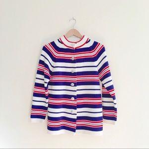 60s Mod Striped Cardigan Sweater